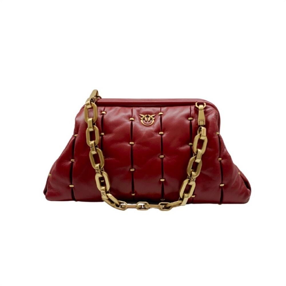 PINKO - Maxy Chain Clutch Pinched - Dark Red