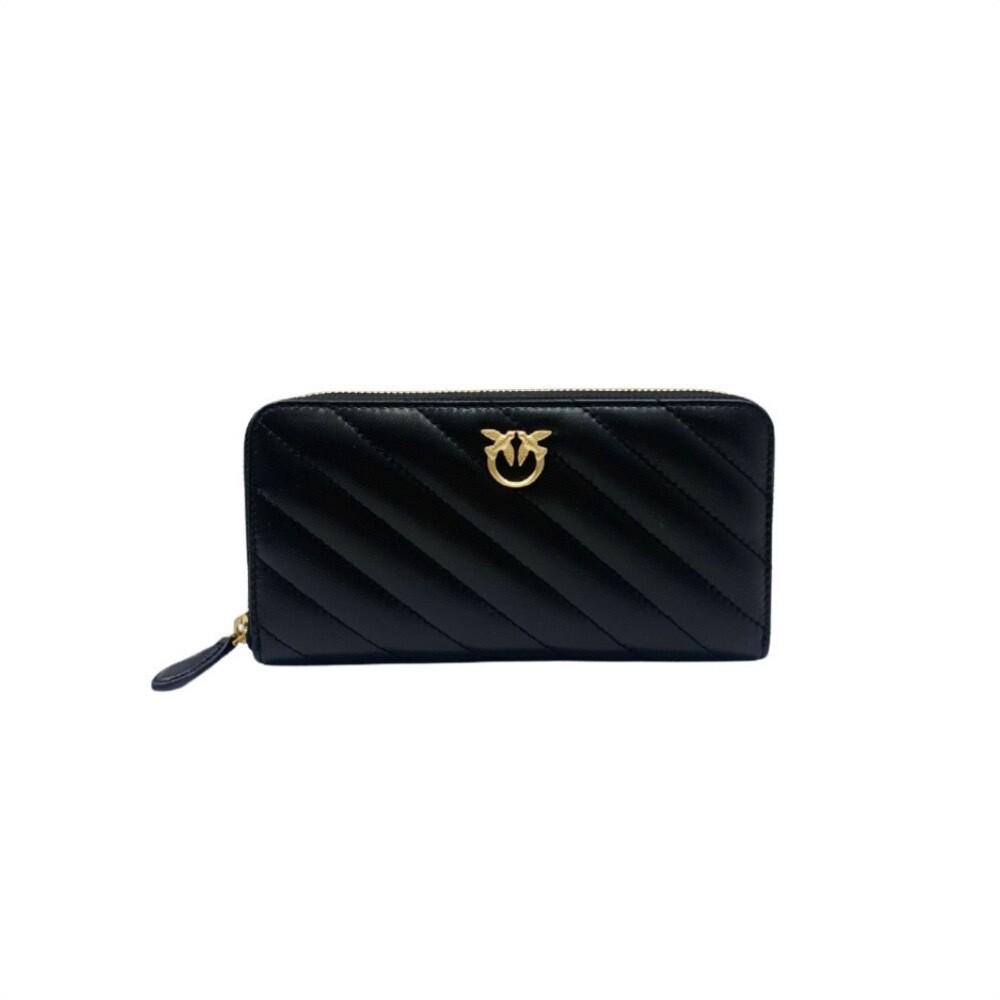 PINKO - Ryder Wallet Zip Around Quilt - Black