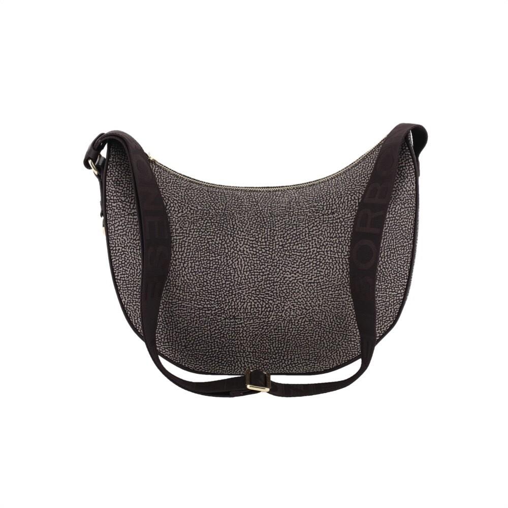 BORBONESE - Luna Bag Middle Nylon Riciclato OP - Mud/Dark Brown