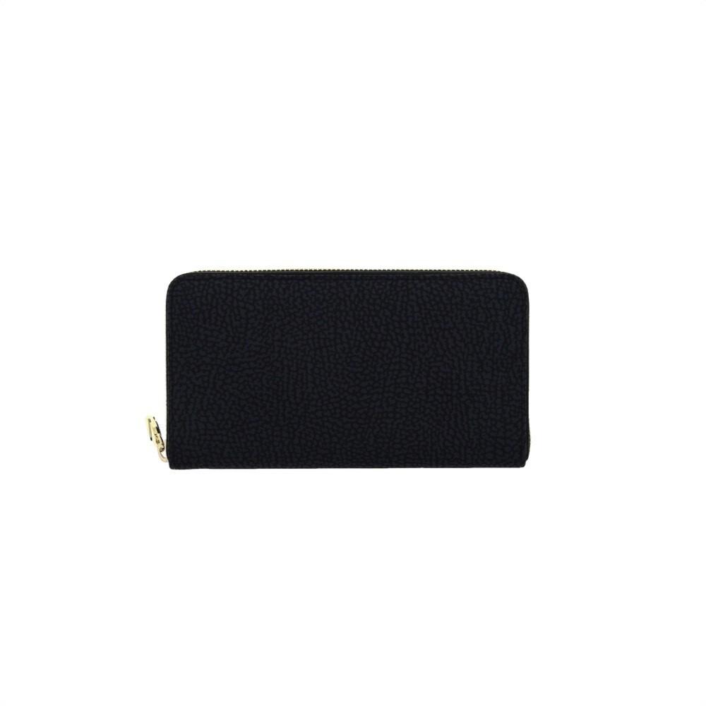 BORBONESE - Portafoglio Large Zip Around in Nylon Riciclato OP - Black
