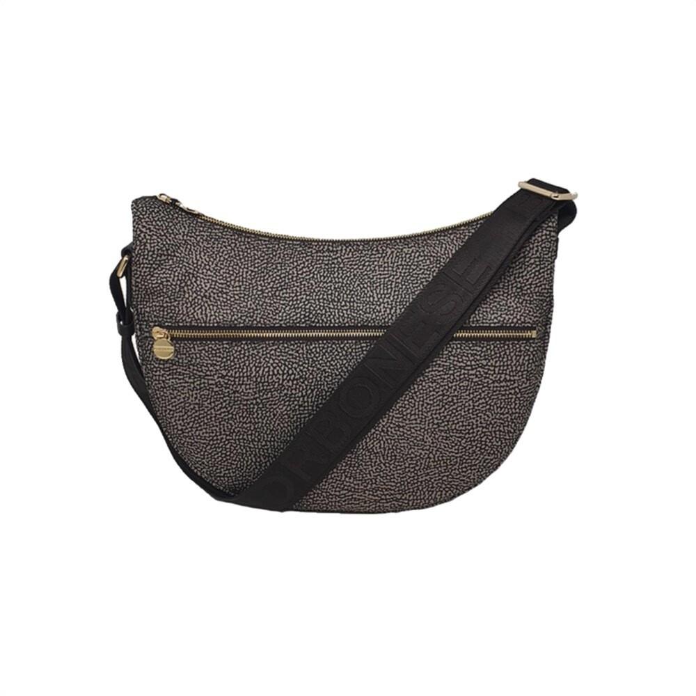 BORBONESE - Luna Bag Middle Nylon Riciclato OP con zip - Mud/Dark Brown