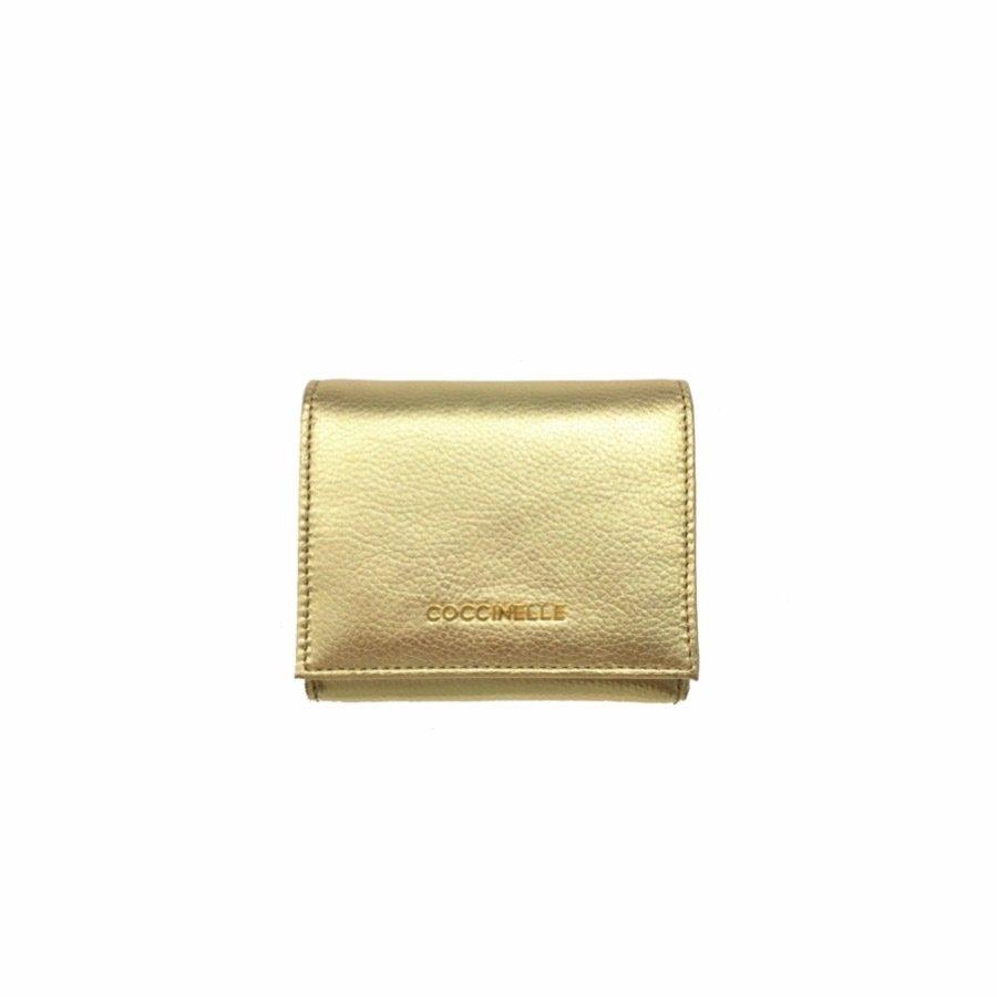 COCCINELLE - Metallic Soft Portafoglio piccolo con portamonete - Platino