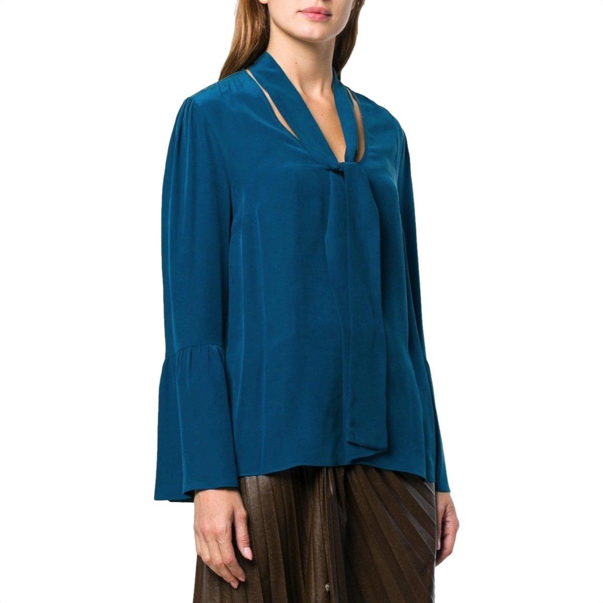 MICHAEL KORS - Camicia seta con collo a foulard - Luxe Teal