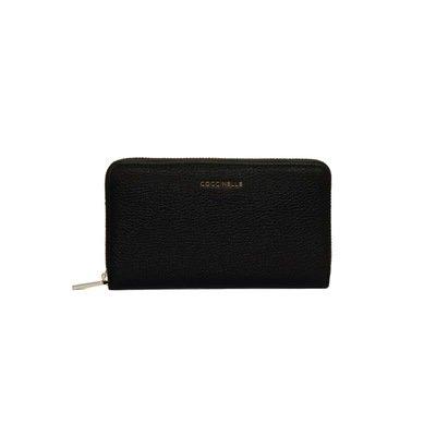 COCCINELLE - Metallic Soft Portafoglio Grande Zip Around - Noir