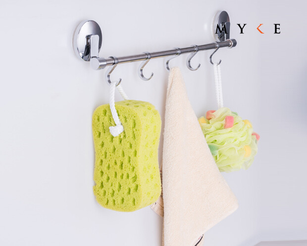 MYKE Suction Cup Towel Rack Chrome