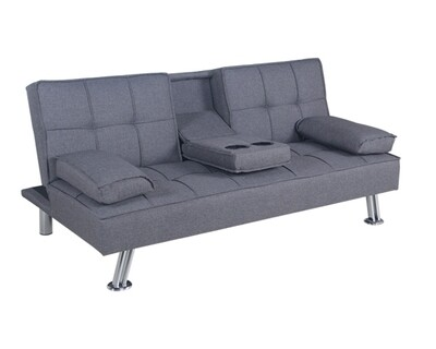 (Sale) Flotti Valence Sofa Bed (Grey) (Repaired/Torn/Stiches) (Repaired/Torn/Stiches/No Pillows)