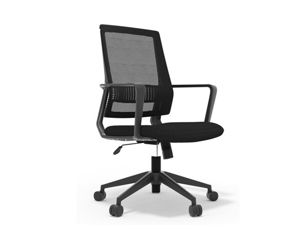 Ofix Deluxe-50/50H Nylon Base Mid Back Mesh Chair (Black)