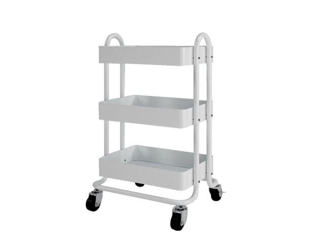 Ofix Travis 3-Layer Metal Trolley (White, Blue, Grey)