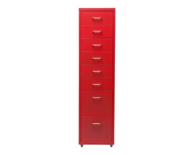 Ofix Metal 8-Drawer Steel Cabinet (Red, White)