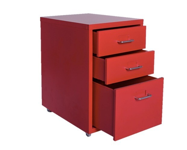 Ofix Metal 3-Drawer Steel Cabinet (Red, White)