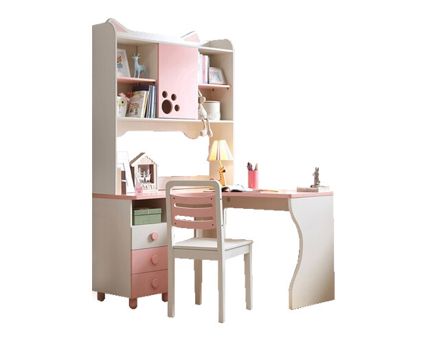 Ofix Eira Bedroom Bookcase Desk (Chair not Included) (Pink+White)