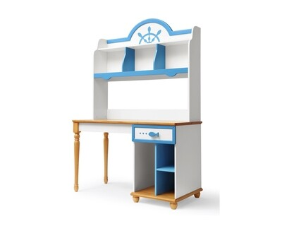 Ofix Azariah Bedroom Bookcase Desk (Chair not included) (Blue+White)