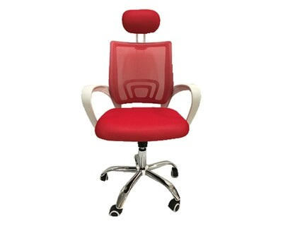 (Sale) Ofix Deluxe-5HW High Back Mesh Chair (Red) (Backrest Mesh Torn & Light Scratches)