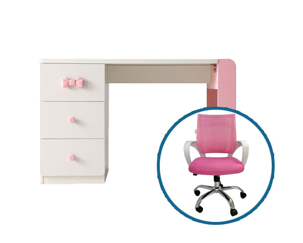 Ofix Olympia Study Table Set (Pink+White)