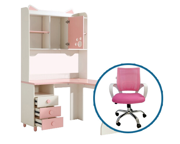 Ofix Eira Bedroom Bookcase Desk Set (Pink+White)