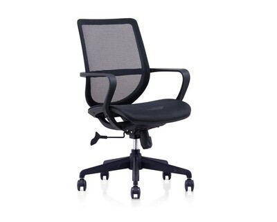 (Sale) Ofix Korean F14 Mid Back All Mesh Chair (Black) (Light Scratches)
