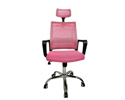 (Sale) Ofix Deluxe-45/ 45W High Back Mesh Chair (Pink+Black) (Scratches)
