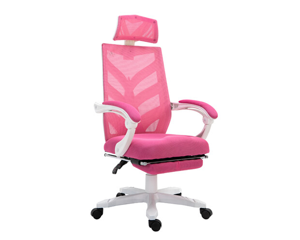 OFX Deluxe-25F High Back Mesh Gaming Chair with Foot Rest (Pink+White)