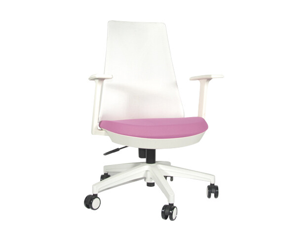 (Sale) Ofix Korean-109 Mid Back Mesh Chair (Pink+White) (Stain/ Fluffy Mesh)