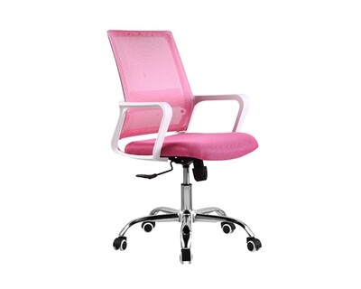(Sale) (Ofix Deluxe-8 Mid Back Mesh Chair (White+Pink) (Mesh torn)