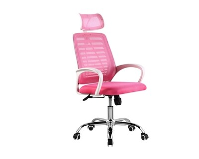 (Sale) Ofix Deluxe-43 High Back Mesh Office Chair (White+Pink) (Seat Cushion Mesh Torn)