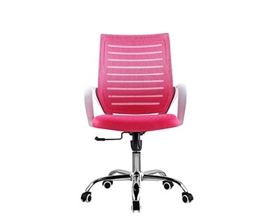 (Sale) Ofix Deluxe-49W Mid Back Mesh Chair (Pink) (Scratches/Stains)