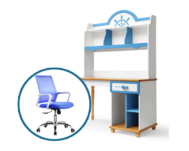 Ofix Azariah Bedroom Bookcase Desk Set (Blue+White)