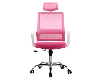 (Sale) Ofix Deluxe-45W High Back Mesh Chair (White+Pink) (Torn Seat cushion/Light Scratches)