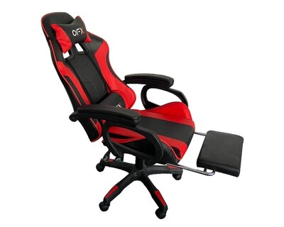 (Sale) OFX G11 Gaming Chair w/ Foot Rest (Red+Black) (Backrest Torn, Stains & No Pillows)