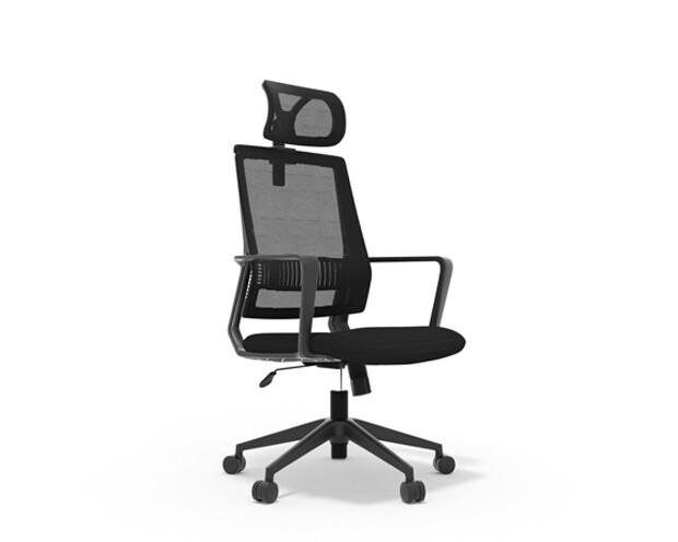 Ofix Deluxe-50H Nylon Base High Back Mesh Chair (Black)