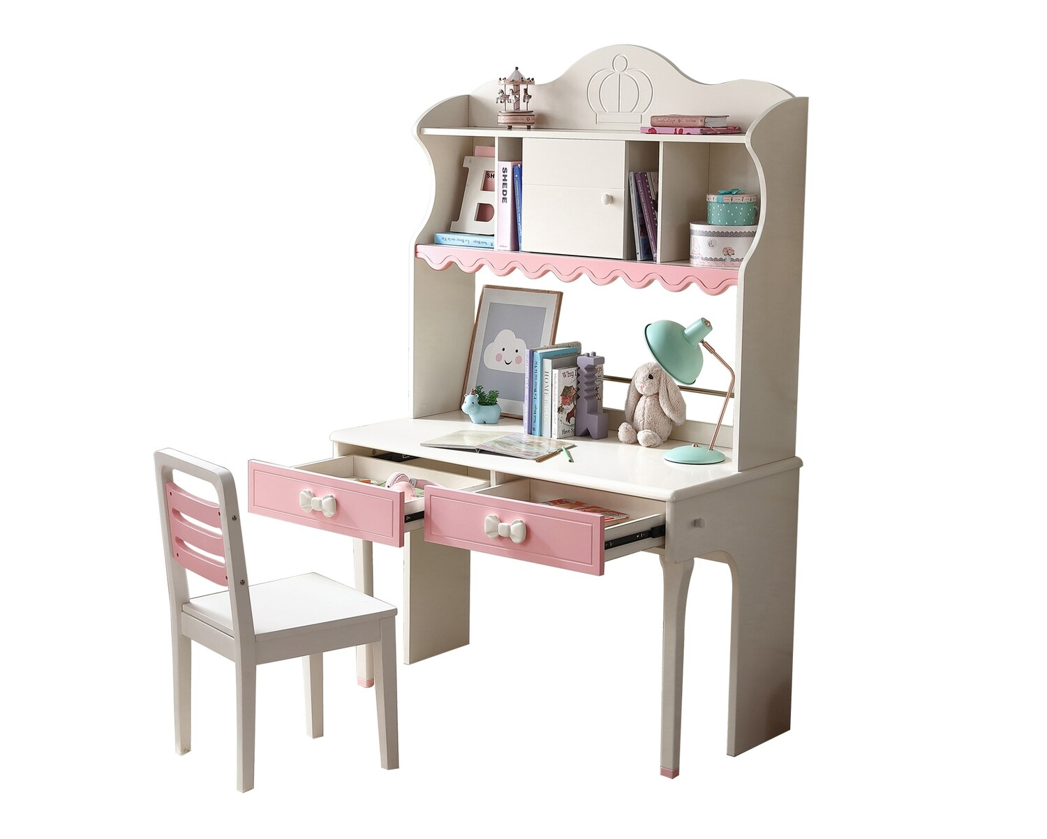 Ofix Milana Bedroom Bookcase Desk Set (Pink+White) (Chair not included)