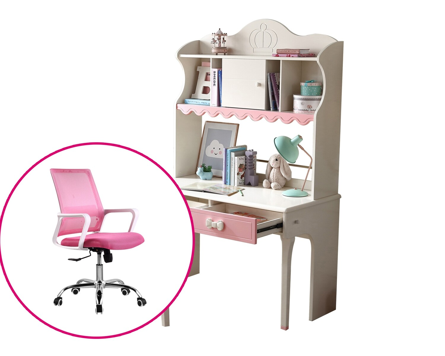 Ofix Milana Bedroom Bookcase Desk Set (Pink+White)