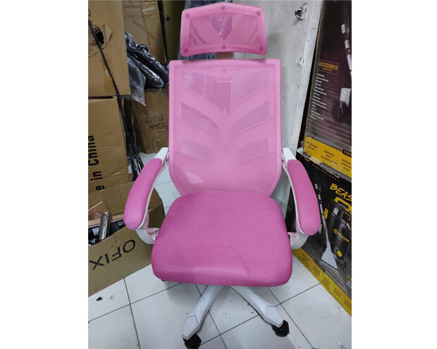 (Sale Item) OFX Deluxe-25W High Back Mesh Gaming Chair (Pink) (Scratches & Stains)