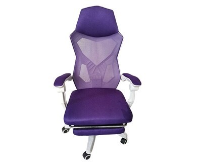 (Sale) OFX Alex w/ Footrest Gaming Chair (Purple+White) (Light Scratches/Stains)