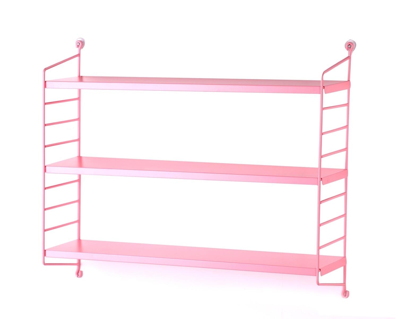 Ofix Arden 3-Tier Metal Wall Shelf (Black, Pink)