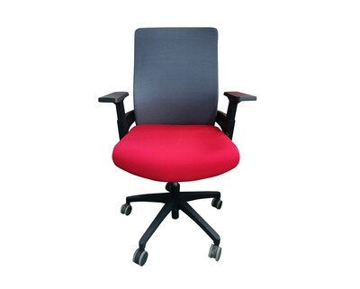 Ofix Deluxe-F11/F10 Mid Back/High Back Fabric Chair (Grey-Red)/(Black, Red)