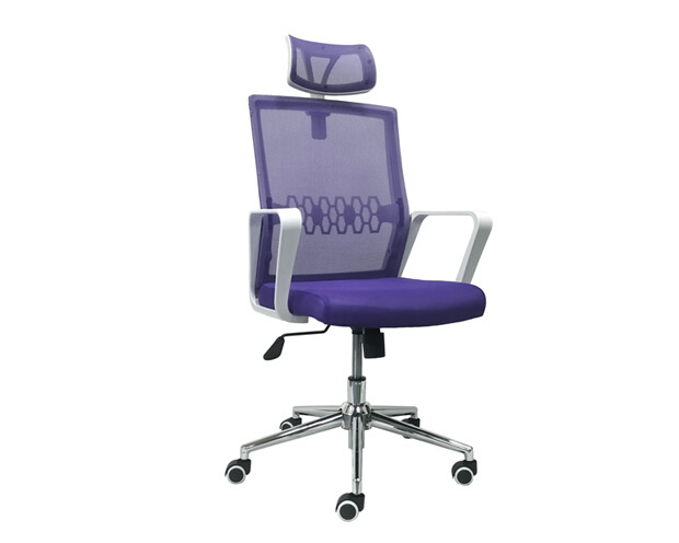 Ofix Premium-34 High Back Mesh Chair (Purple, Blue+Grey)