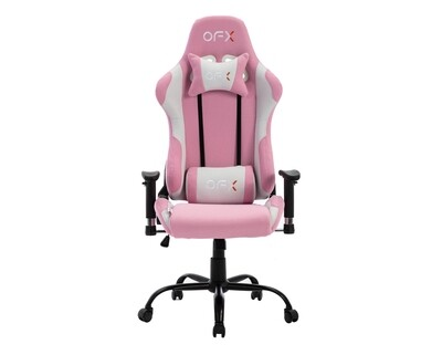OFX Zion Steel Base Soft Fabric Gaming Chair (Black, White+Pink, Black+Red)