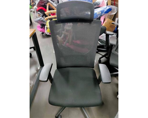 (Sale) Ofix Korean-101J High Back Mesh Chair (Black) (Armrest Scratches/Seat Cushion Shredded)