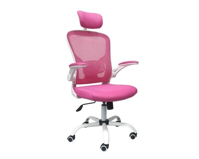 (Sale) Ofix Premium-31 High Back Mesh Chair (Pink+White) (Scratches/Dents)