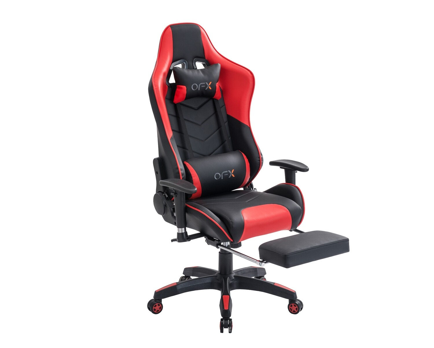 (Sale) OFX Joshua Cocoon Back Gaming Chair w/ Foot Rest (Black+Red) (Backrest Torn & Scratches)