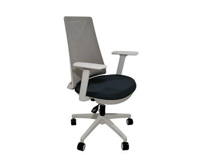 (Sale) Ofix Korean-108/ 109 Mid Back Mesh Chair (Blue+Gray) (Light Scratches & Stains)