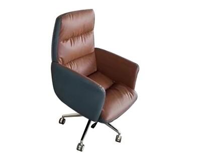 Ofix Premium-40 High Back PU Chair (Brown, Black)