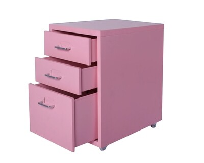 Ofix Metal 3-Drawer Steel Cabinet (Red, White, Blue, Pink, Black)