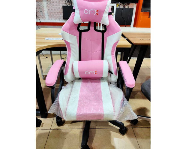 (Sale) OFX Aaron Gaming Chair (Pink+White) (Light Scratches/Stains)