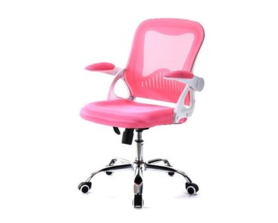 (Sale) Ofix Deluxe-12 Mid Back Mesh Chair (Pink) (Backrest Mesh Torn)