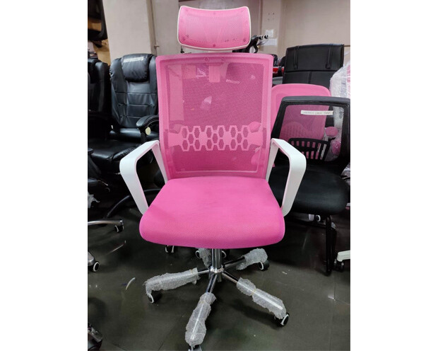 (Sale) Ofix Premium-34 High Back Mesh Chair (Pink) (Light Scratch/Stains) (Armrest Scratches / Mesh Torn)