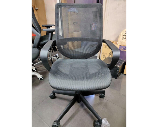 (Sale) Ofix Korean F14 Mid Back All Mesh Chair (Black) (Scratches)