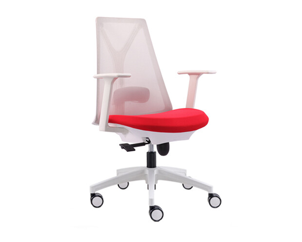 (Sale) Ofix Korean-109 Mid Back Mesh Chair (White+Red) (Seat Cushion Light Crack)