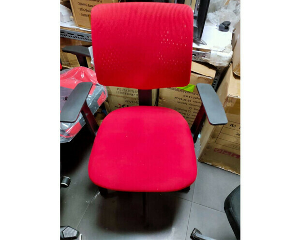 (Sale) Ofix Korean-1 Mid Back Mesh Chair (Red) (Backrest Mesh Shredded / Light Scratches / Stains)